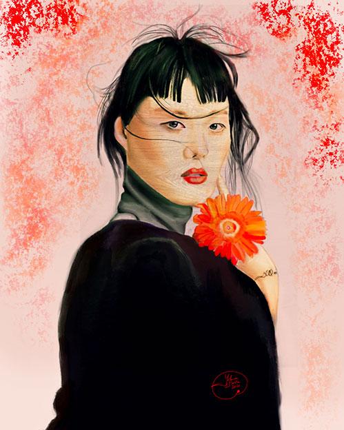 Retrato ilustrado de mujer oriental con efecto madera