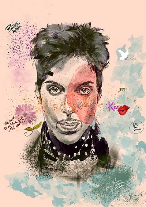 Prince retrato digital ilustrado