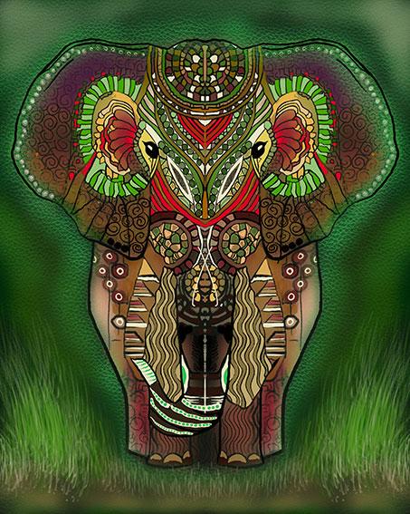 Elefante verde digital ilustado
