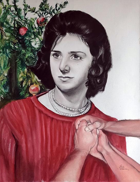 Encargo de retrato pintado a mano carboncillo y pastel