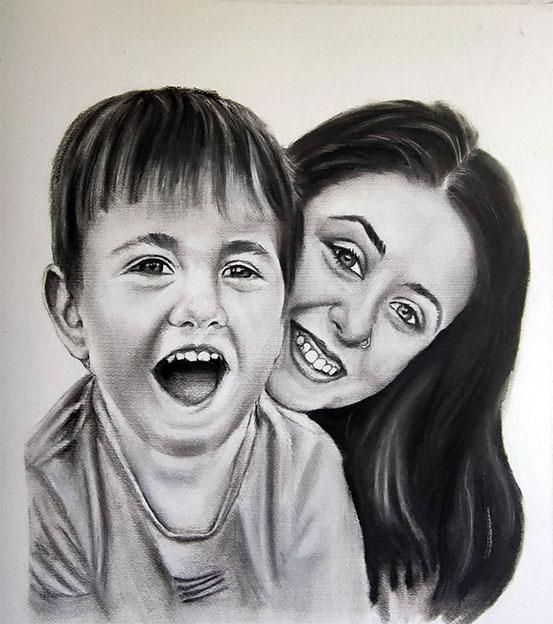 Retrato por encargo de mamá con su hijo