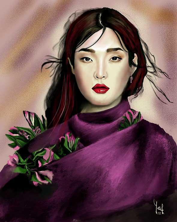 Retrato digital ilustrado de mujer vestida con tono morado