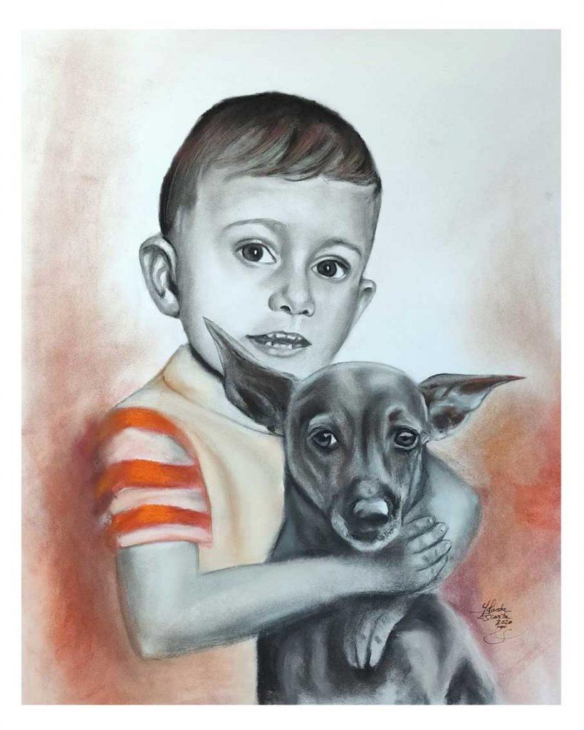 Retrato pintado a mano en carboncillo, lápiz y pastel