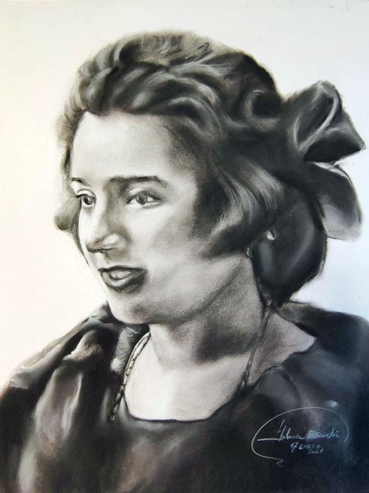 Retrato pintado a mano en carboncillo y lápiz