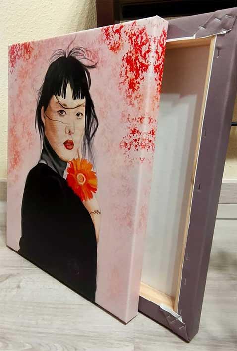 muestra de JAPAN NARANJA lienzo con bastidor