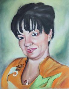 Retrato de mujer latina a pastel