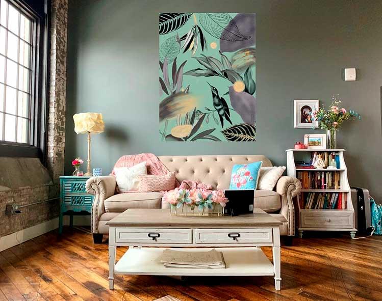 sala de estar con lienzo digital