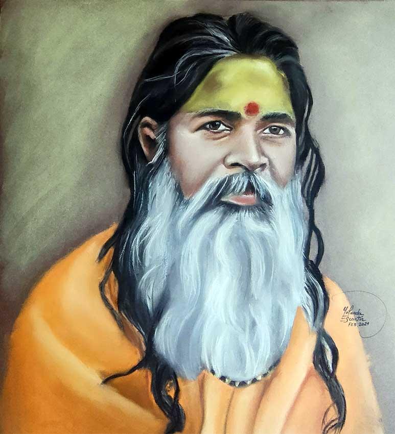 retrato pastel maestro hindú