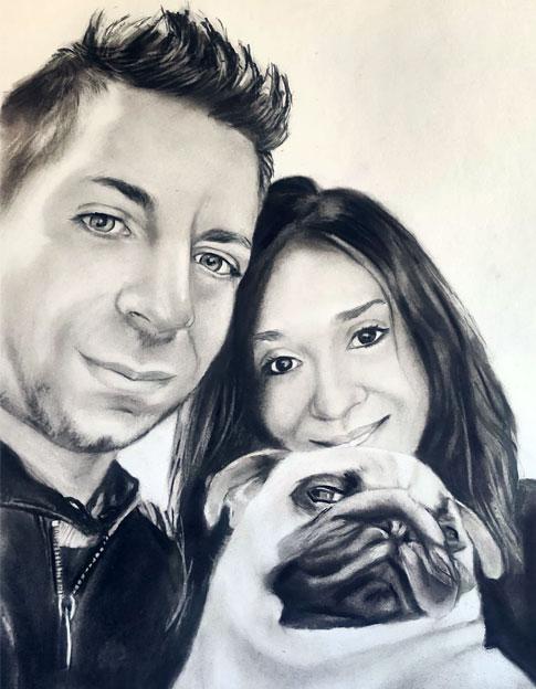 retrato pintado a carboncillo y lápiz