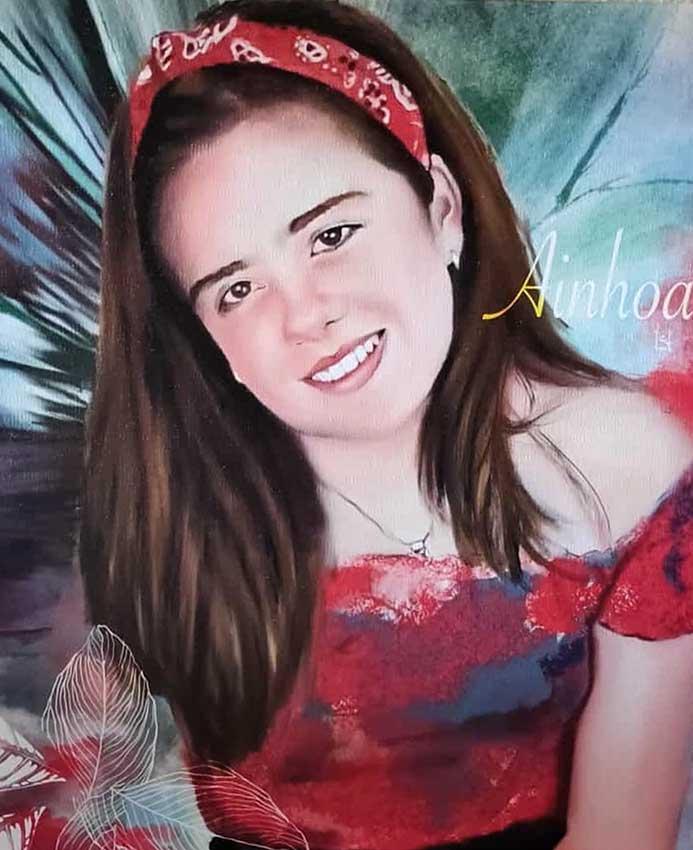 retrato digital en lienzo con bastidor