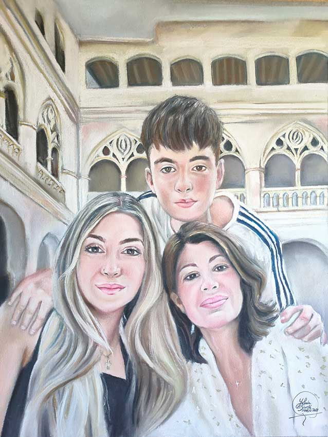 retrato madre e hijos pintado a pastel
