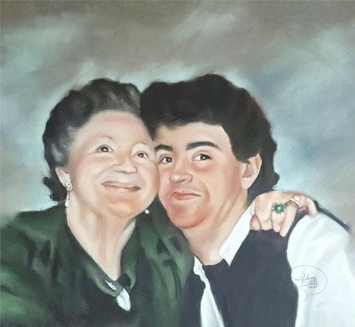 Bonito cuadro a pastel abuela y nieto