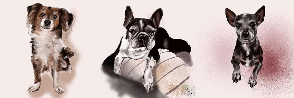 Pintura digital de tres perritos