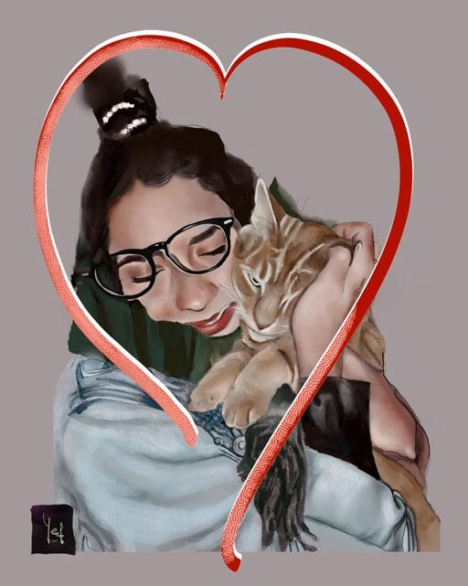 Chica con gato digital personalizado