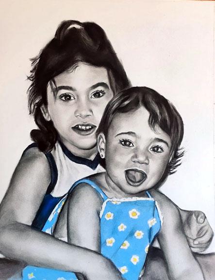 Hermanas a carboncillo mezclado con pintura pastel