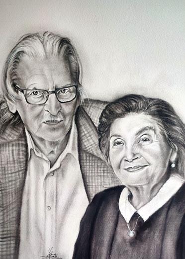 Aniversario padres carboncillo y lápiz